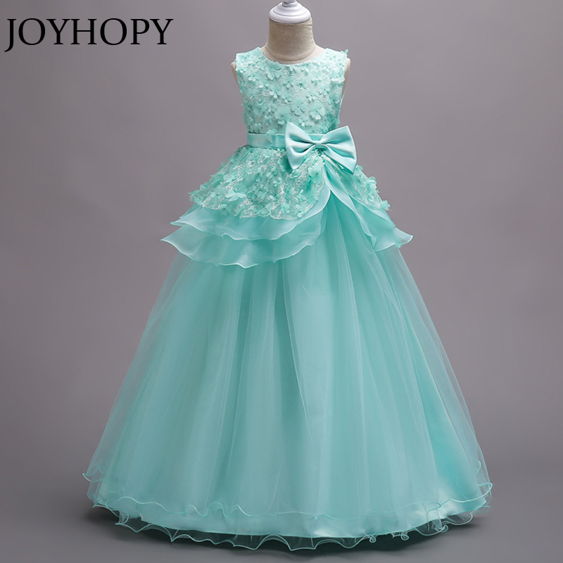 Princess Flower Girl Dress Long Wedding Birthday Party Dresses For ...