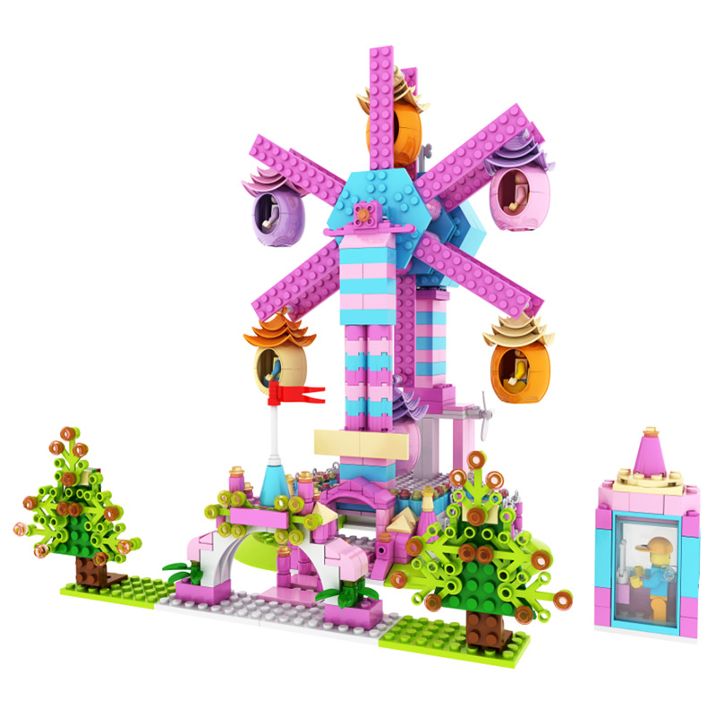 ФОТО 669pcs Girl Playground Ferris Wheel Building Blocks With Music Kids Educational Model Bricks Toys Compatible with Gift