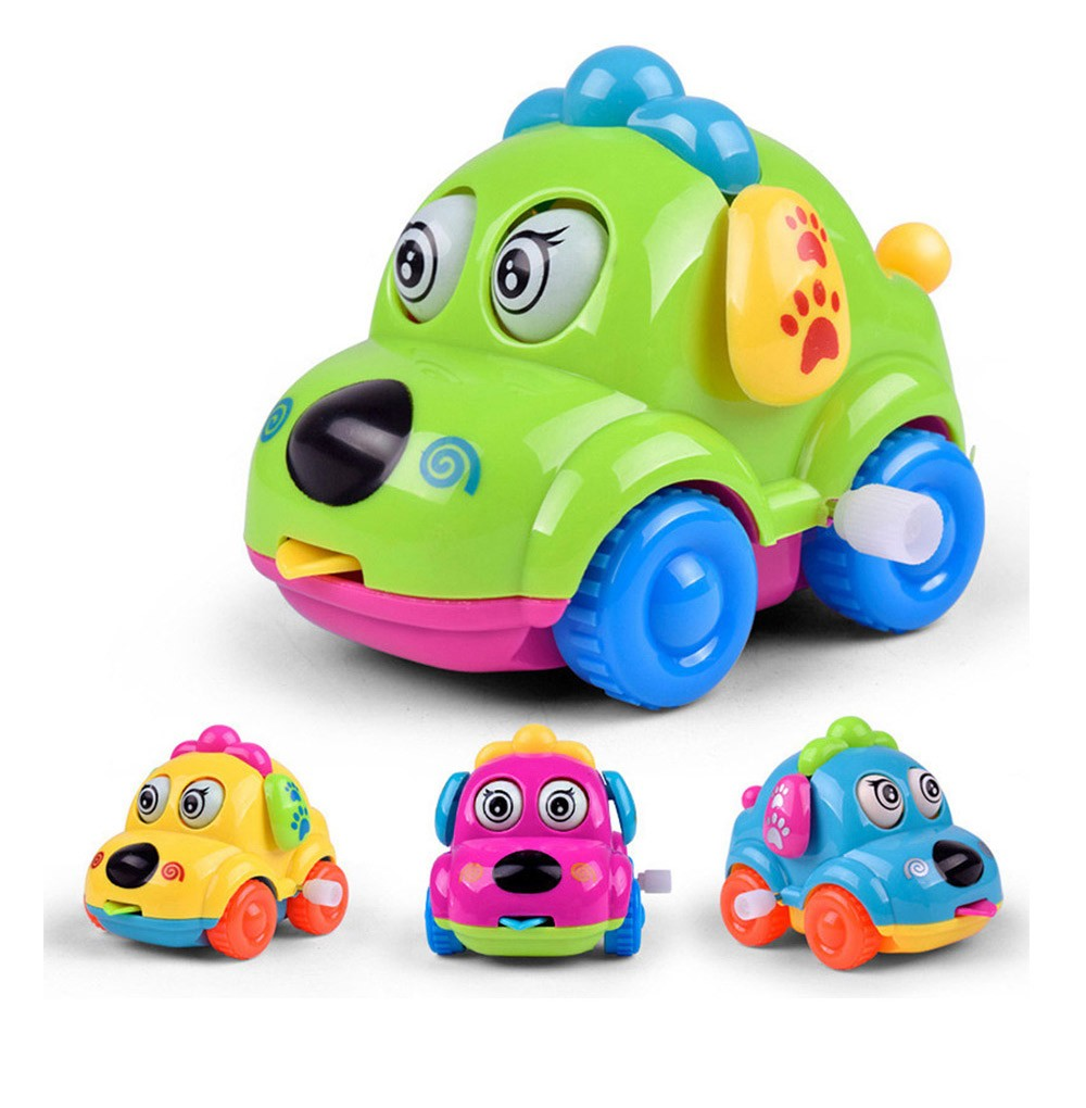 Cute Cartoon Animal Dog Wind Up Toys Running Car Clockwork Classic Toy Newborn Spring Toy Random Color 4