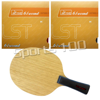 Pro Table Tennis Combo Paddle Racket 61second 3003 Blade with 2x Lightning DS LST Rubbers Long Shakehand-FL with a free full cas