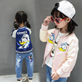 2017 Crianças Jaquetas Pato Donald Dos Desenhos Animados do Bordado Crianças Roupas de Bebê Meninas Meninos de Beisebol Casacos & Coats Sports Cartão Zipper