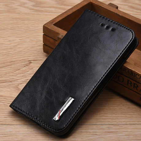 AMMYKI único bolsillo incorporado de alta calidad flip funda trasera de cuero para teléfono 4,7 'para lenovo s650