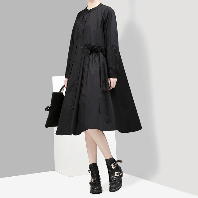 New 2018 Korean Style Women Black Green Autumn A-line Shirt Dress With Sashes Long Sleeve Girls Cute Street Wear Midi Dress 2915