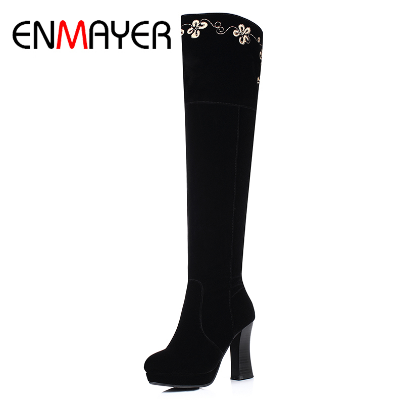ENMAYER 2017 New Woman Over the Knee Square Heel High Heels Winter Boots Solid Zipper Ladies Embroider Warm High Quality Shoes enmayer over the knee boots shoes new pu knitting square heel high boots warm snow long boots red brown black knight boots