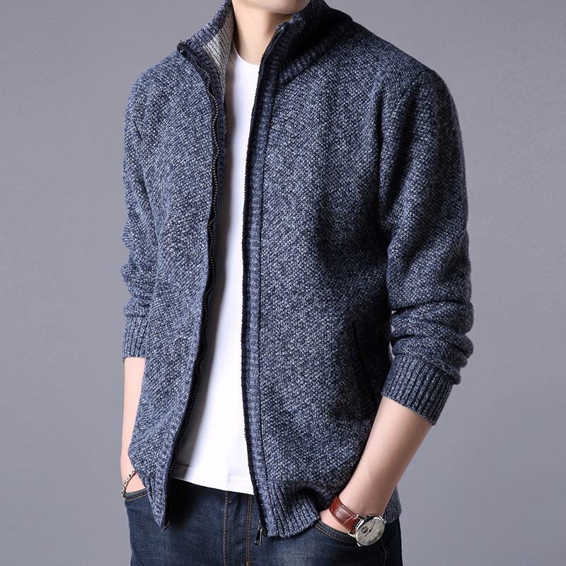 MRMT 2018 Brand Mens Jackets Cashmere Knit Sweater Fashion Youth Solid Color Stand Collar Sweater Jacket Apparel