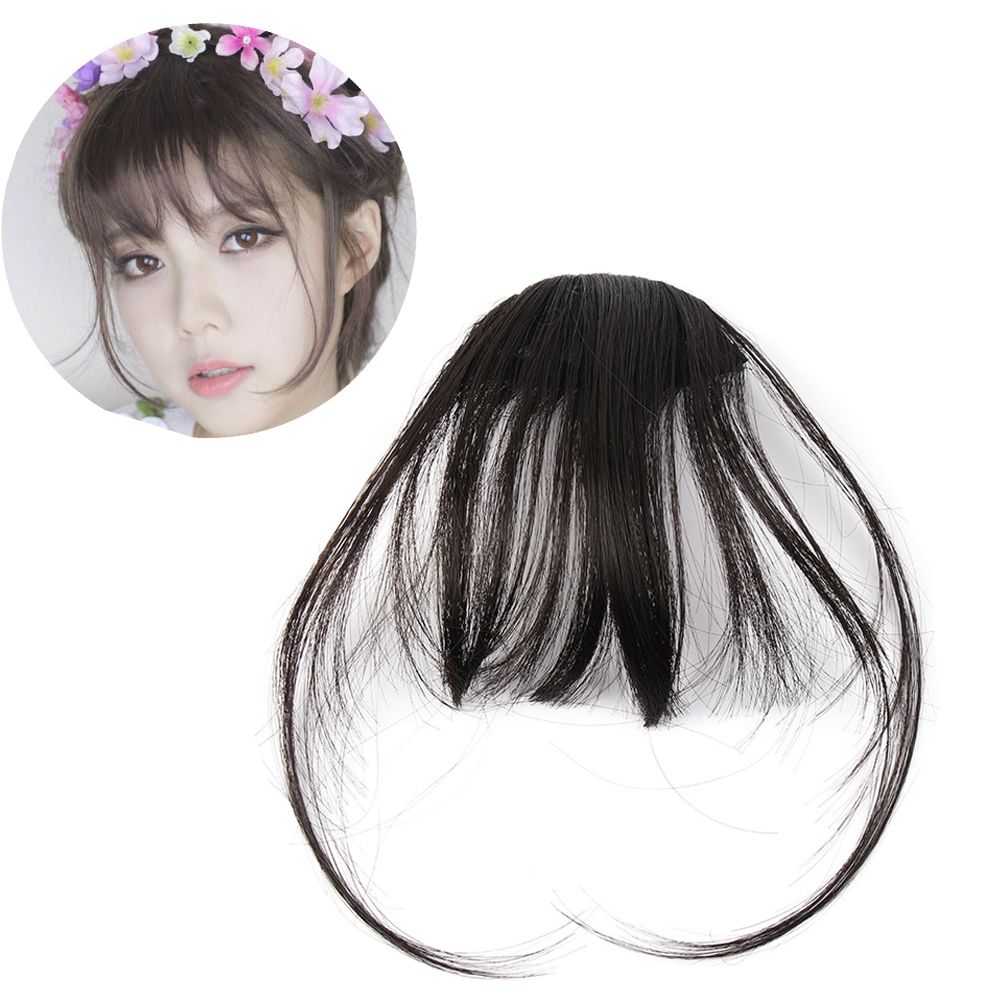 HOOH Fashion Women Front Neat Air Fringe Bangs Clip Bang Fringe Hair Extensions Straight Synthetic 100% Real Natural Hairpiece
