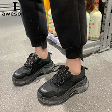 Купить с кэшбэком Genuine Leather Retro Dad Sneakers platform shoes women Chunky sneakers comfortable chaussure Footware Thick Sole Walking shoe