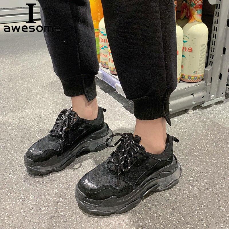 Véritable cuir rétro papa baskets plate-forme chaussures femmes Chunky baskets confortable chaussure chaussures semelle épaisse chaussure de marche