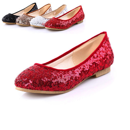Flat Shoes Female Round Toe Flats Red Color Dance Shoes Flat Ballet Glitter  Shoes Big size 9 10 ABA0B 670e8641eb