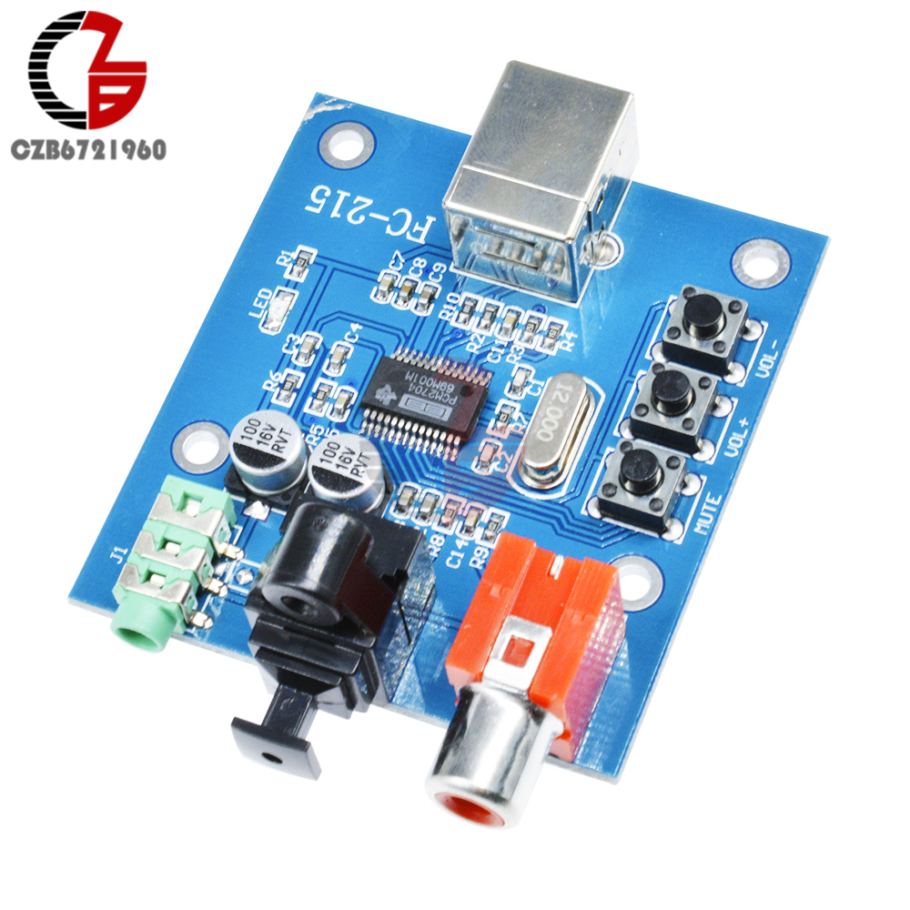 PCM2704 USB DAC USB to S//PDIF Sound Card Decoder Board 3.5mm Analog Output Hot