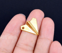 60pcs Paper Airplane Charms Gold Tone Paper Air Craft Charms Pendant 18x17mm