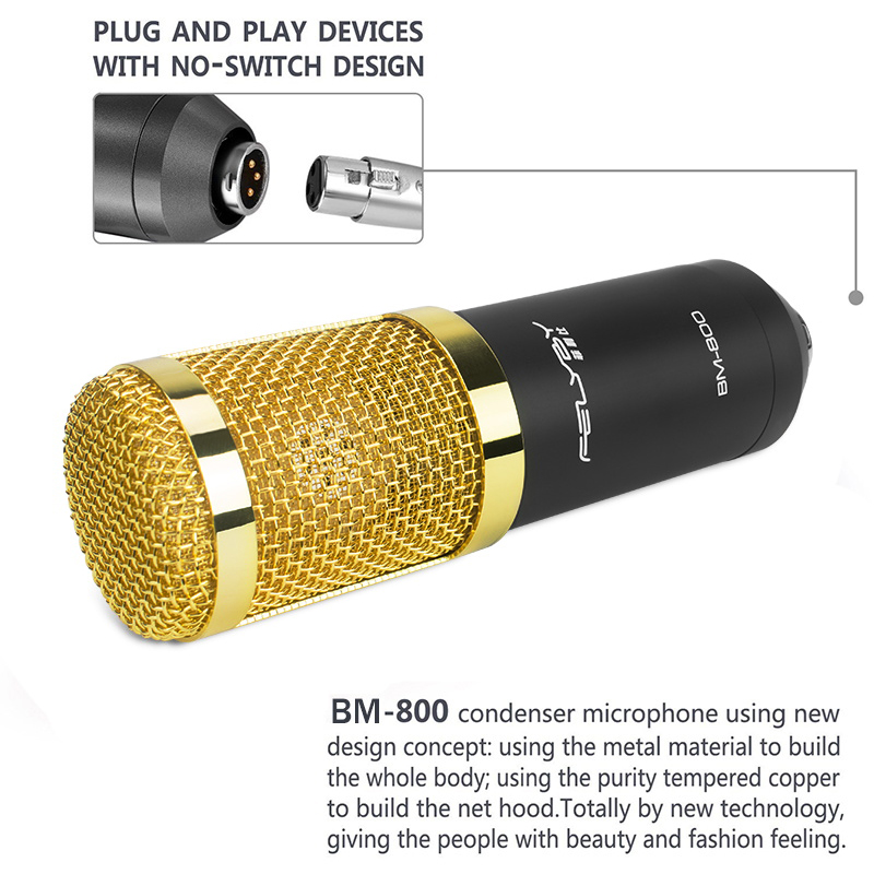 Image 3 - FELYBY bm 800 Profession Condenser Microphone For Computer Karaoke Video Studio Recording Mic Filter Phantom Power Sound Card-in Microphones from Consumer Electronics