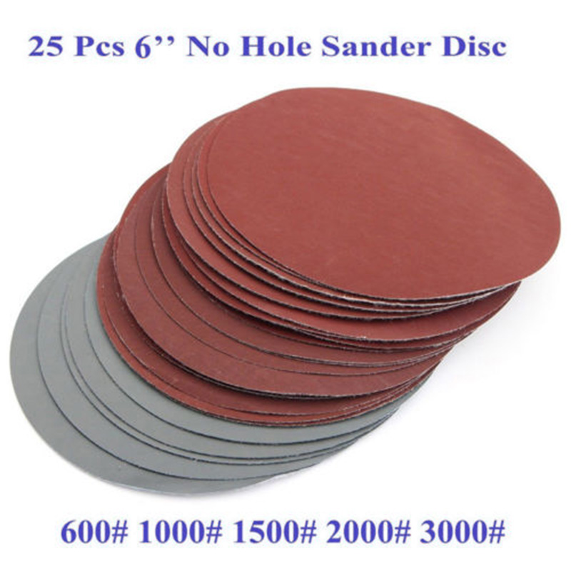 600# 1000# 1500# 2000# 3000# Sanding Discs Grit Grinding Hook Loop Sandpaper 150mm Set 6