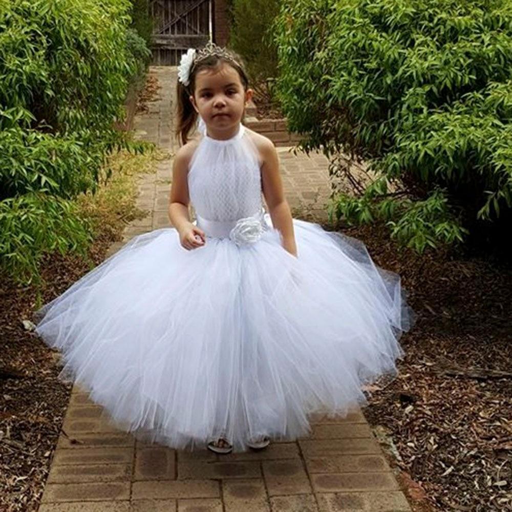 New White Gray Flower Girl Tutu Dress For Party Bridesmaid Flower Girl Wedding Dress Fluffy Princess Ball Gown Vestidos Meninas