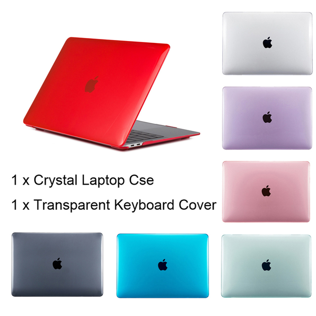 Crystal laptop Case For APPle MacBook Air Pro Retina 11 12 13 13.3 15 15.4 inch with TouchBar A1706 A1707 A1708+Keyboard Cover