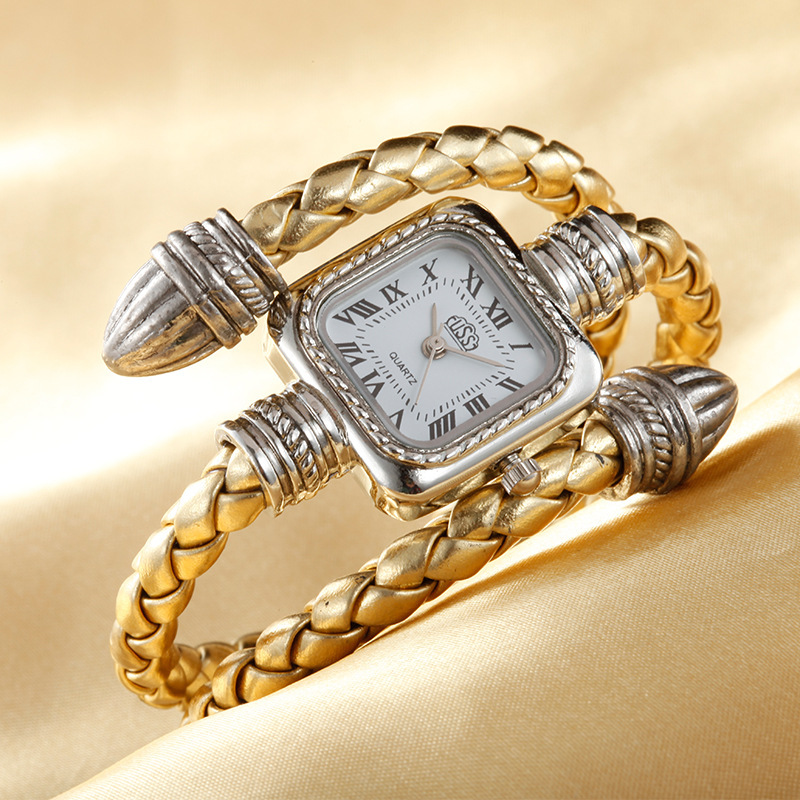 Stylish Luxury Square Steel Shell Quartz Wrist Watch Hours Bracelet for Women Ladies Gold Sliver Timer