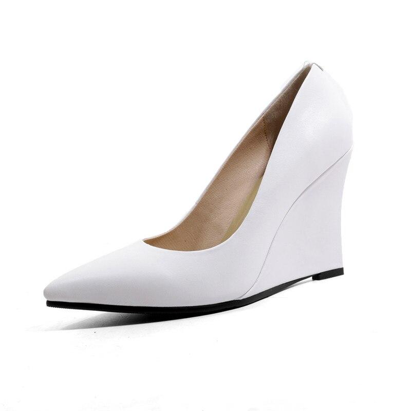 Morazora Pompes 2019 Dames Élégant Peu Femme Profonde Printemps Femmes Bout blanc Pointu Noir apricot Chaussures Compensées Cuir Semelles gris Véritable À D'été Nouveauté En qZr7wYqd
