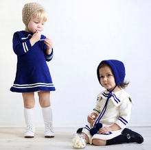2016 Girls style navy knitting sweaters children spring autumn cotton skinny unfastened jumpers kids after quick earlier than lengthy pullover