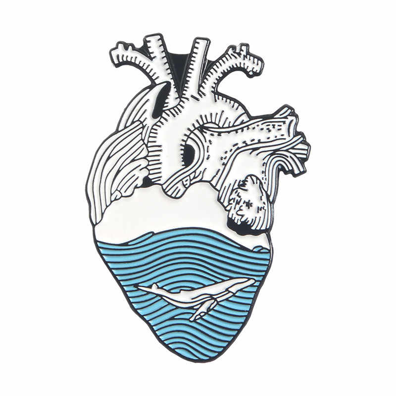 Art อวัยวะหัวใจเคลือบ Pin Blue Wave Brave แมวหัวใจเข็มกลัดสำหรับ Doctor Denim กระเป๋าเสื้อเสื้อผ้า Lapel Pin เครื่องประดับทางการแพทย์