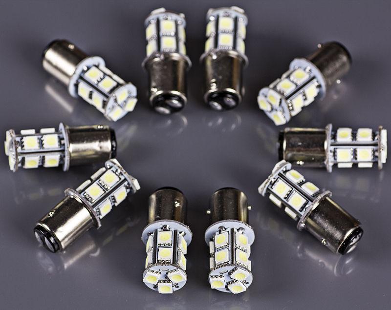 10PCS S25 1157 Bay15d P21/5W 13-SMD 5050 LED Tail Brake Stop Light Bulb Xenon White 12V 24V