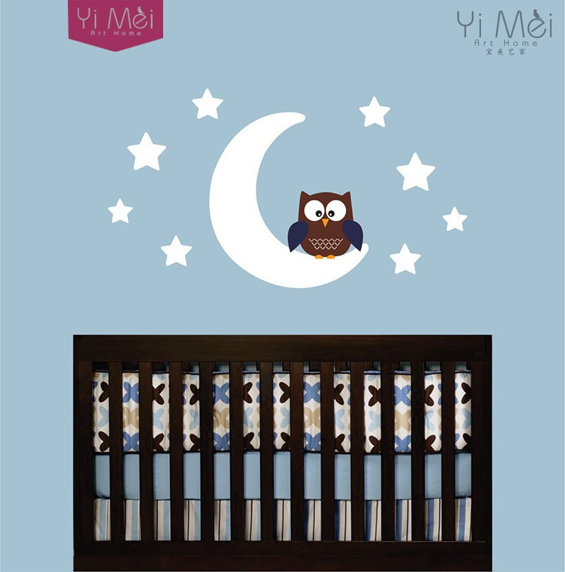 Childrens Wallpaper Decals Owl And Moon