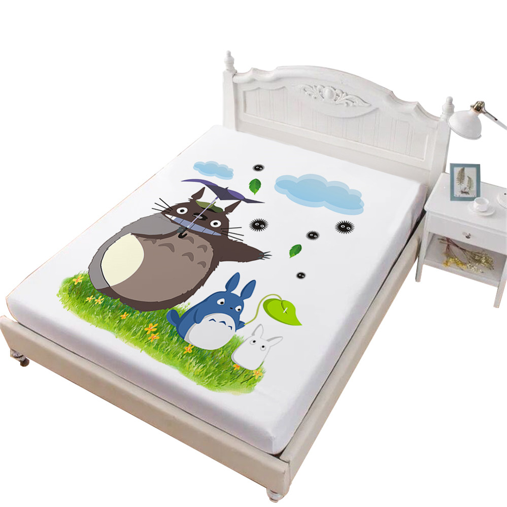 Kids Cartoon Bed Sheets Cute Totoro Fitted Sheet Green Natural Scenery Printed Sheet Deep Pocket Mattress