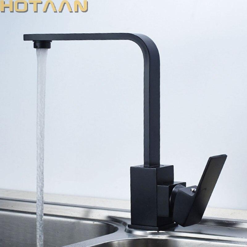 Robinets de cuisine carrés noirs robinets d'eau à Rotation de 360 degrés en laiton massif bronze huilé évier de cuisine mélangeur d'eau du robinet