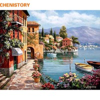Frameless Romantic Harbor DIY Painting By Numbers Landscape Canvas Painting Home Decor For Living Room Wall