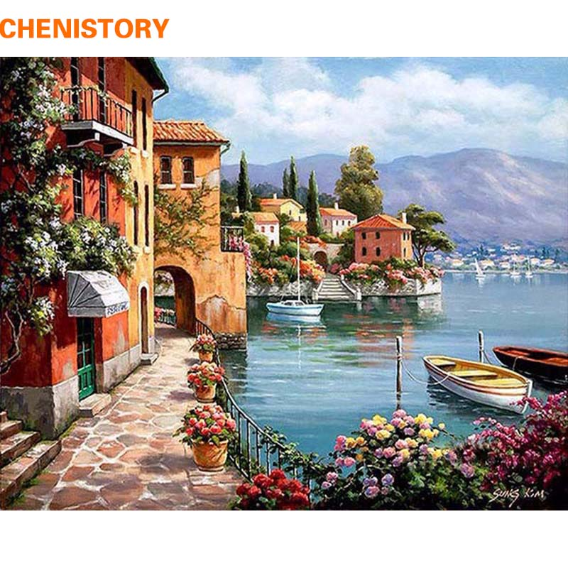 Chenistory romantico porto diy pittura by numbers pittura di paesaggio della tela home decor for living room wall art immagine 40x50 centimetri