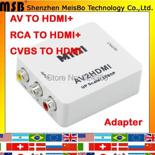 Mutifunction Максимальная скорость rca для HDMI Интерфейс с аудио кабель USB cvbs, чтобы HDMI конвертер 1080 P HDTV СТБ А. В. к HDMI адаптер