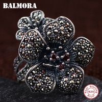 BALMORA 100% Real 925 Sterling Silver Mosaic Flower Open Rings for Women Lover Gift Vintage Thai Silver Ring Jewelry MKS20021