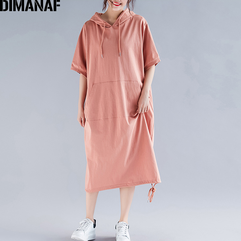 Image 2 - DIMANAF Plus Size Women Dress Summer Cotton Hooded Lady Vestidos Female Clothing Casual Loose Big Size Long Dress Solid 5XL 6XL-in Dresses from Women's Clothing