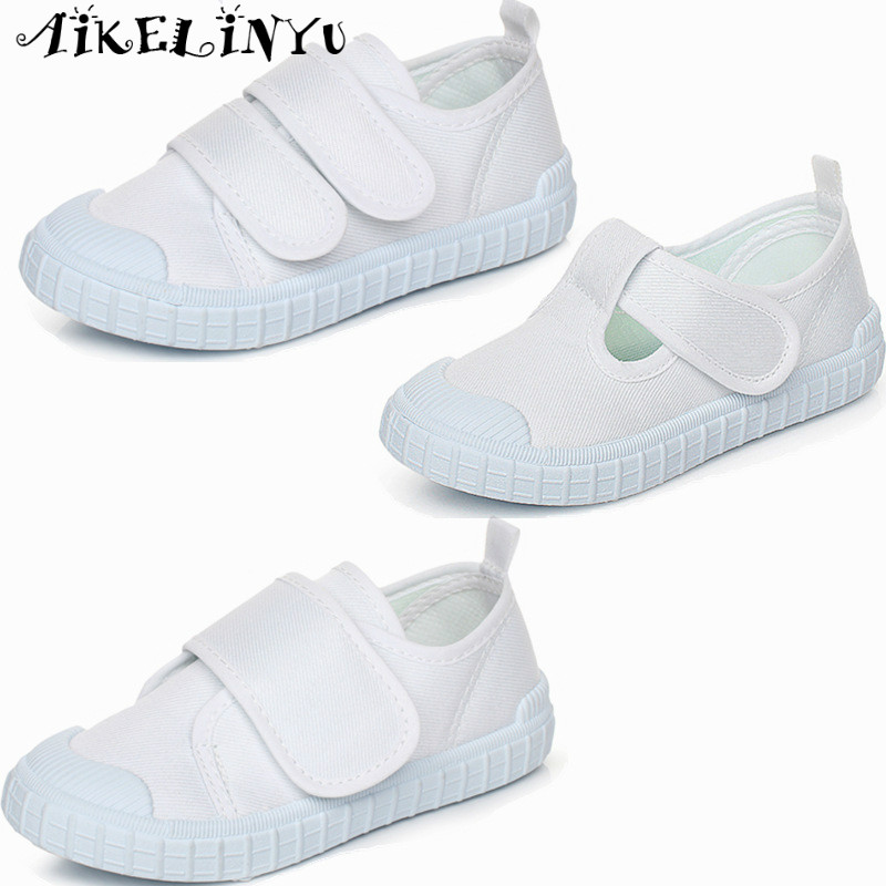 2018 Spring Children Sports Kids White Cloth Shoes Girls Boys Sneakers Shoes Kids Dancing Shoes Children School Gymnastic Shoes
