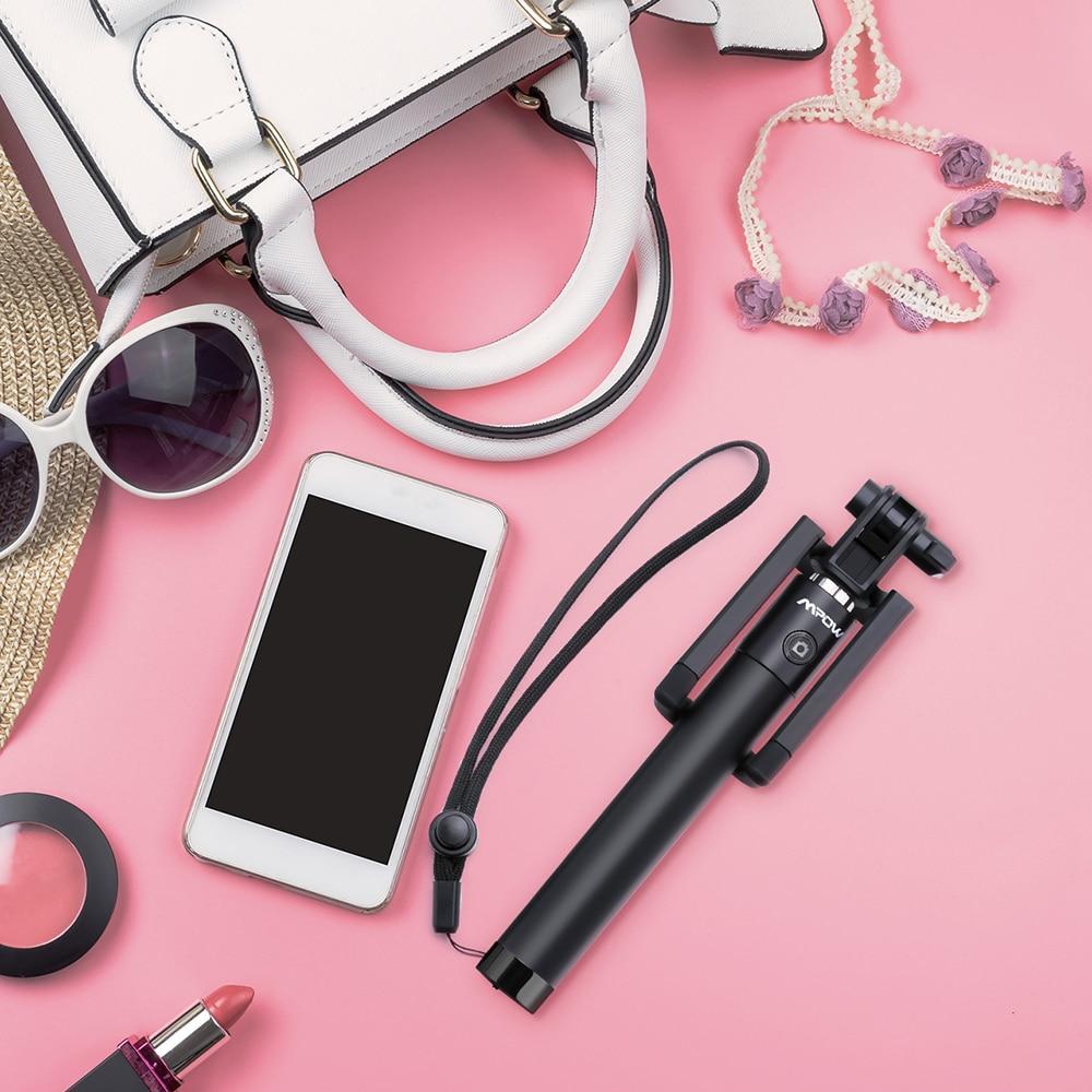 5fae73fc414 Mpow iSnap Pro X Palo extensible bluetooth portátil antideslizante universal  para selfie con disparador integrado y correa