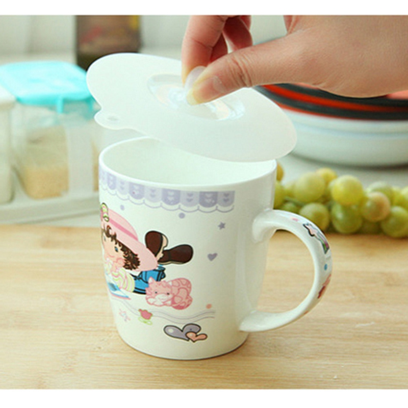 Silicone Cup Cover Lovely Odorless Cap Lid Leak Proof Fresh-Keeping Sealed Coffee Suction Seal Lid Cap Kitchen Storage Cup Cover
