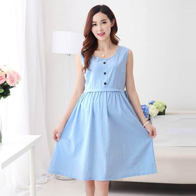 9293696e688a0 Summer Cotton Maternity Linen Nursing Dresses Clothes Pregnant Breast  Feeding Dress Pregnancy Nurse Wear Lactation Clothing Blue