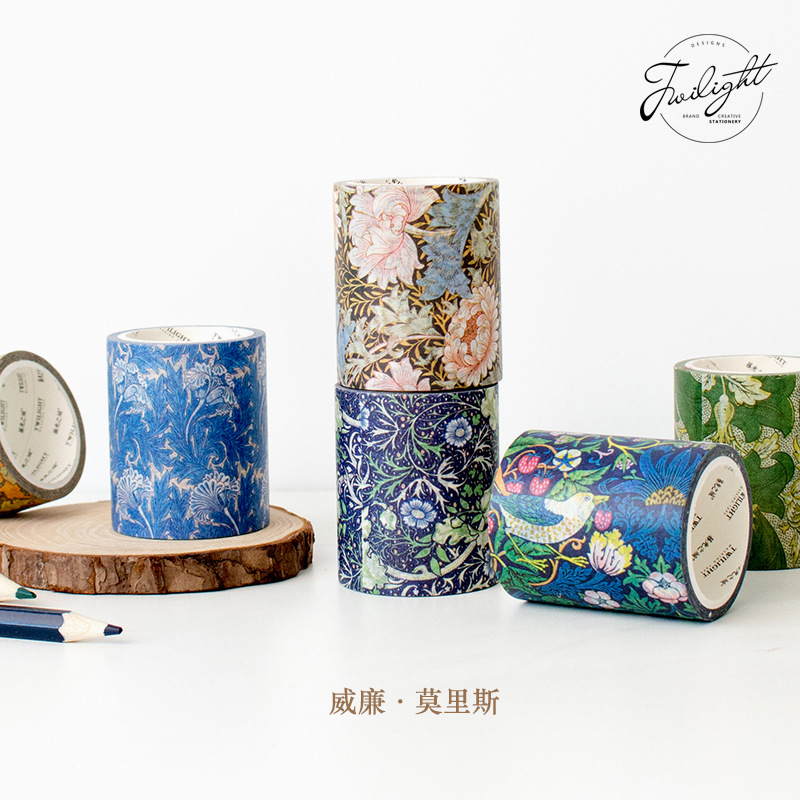 50mm*5m William Morris Decorative Pattern Washi Tape Adhesive Tape DIY Scrapbooking Flower Sticker Label Craft Masking Tape