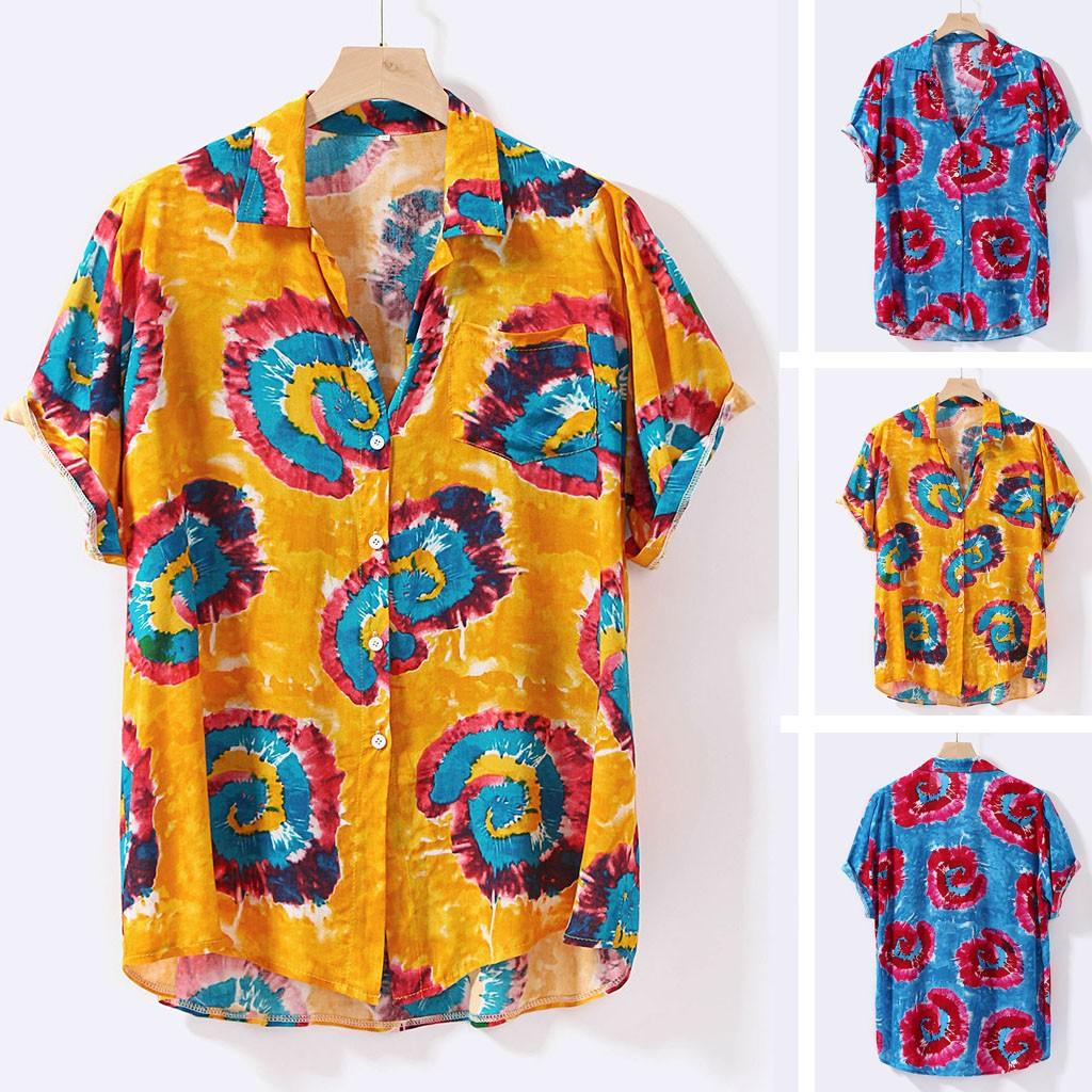 Fashion Mens Printed Hawaiian Loose  Short Sleeve Casual Buttons  shirt M-2XL Рубашки Camisas Hemden قمصان Camisetas Рубашка