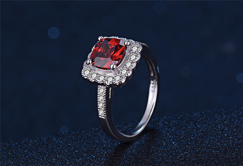 Fashion Female Wedding Bands Jewelry Garnet Cubic Zirconia Engagement Ring for Women CZ Stone Paved Promise Rings #6 7 8 LSR200