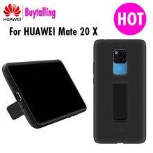 Orijinal resmi Huawei mate 20 X arka kapak kılıf standı yumuşak sıvı silikon dahili mikrofiber Mate 20X5G