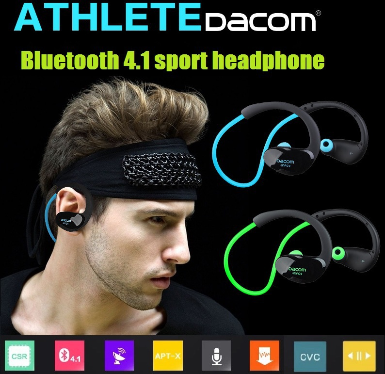 Original Sport headphones Dacom Athlete Bluetooth 4.1 headset Wireless headphone sports stereo earphone with microphone & NFC dacom wireless technology bluetooth headset sport stereo earphone with charging box for iphone 7 7plus and intelligent phone