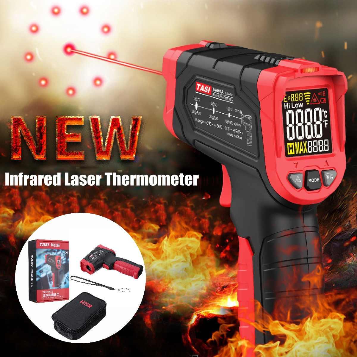 Digitale Infrarot Thermometer Nicht Kontaktieren Temperatur Gun Laser Handheld IR Temp Gun Bunte LCD Display-50-880C Alarm