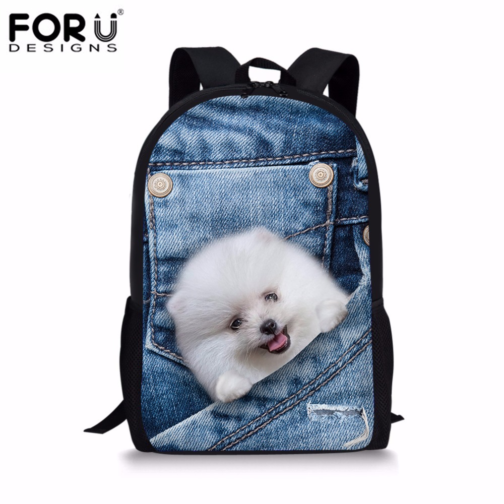 FORUDESIGNS 2017 Fashion Children School Bags Denim 3D Pomeranian Dog Shoulder Schoolbag Book Backpack Student Mochilas