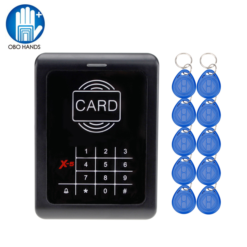 RFID 125KHz EM ID Card Reader Access Control Digital Keypad Access Controller With Door Bell Button Blue Backlight proxi rfid card reader without keypad wg26 access control rfid reader rf em door access card reader