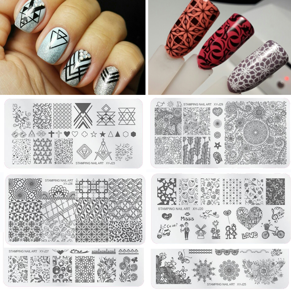 1 Unid Clavo Que Esta Las Placas Flores Geométricos Triángulo Nail Art Sello Estado De Placa