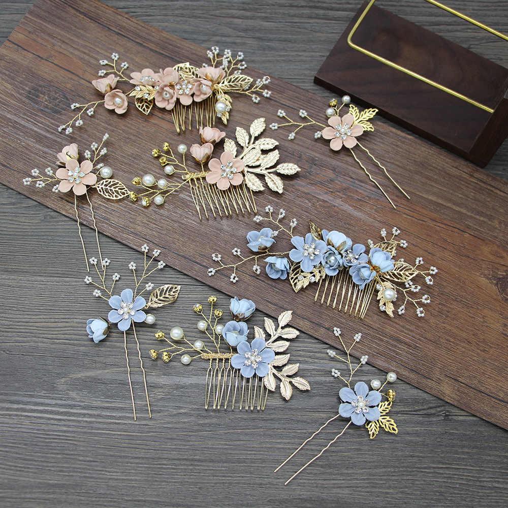 KMVEXO Luxus Rosa Blaue Blume Haar Kämme Kopfschmuck Prom Braut Hochzeit Haar Zubehör Gold Blätter Haar Schmuck Haar Pins 2019