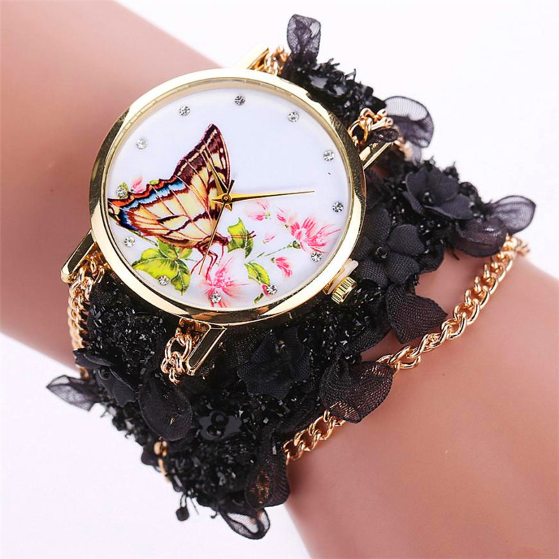 Relogio Feminino Watches Lace Wrap Around Bracelet Crystal Synthetic Chain Analog Quartz Wrist Watch Drop Shipping Sep08