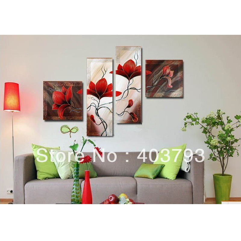 MODERN ABSTACT OIL PAINTING 100 HAND PAINTED RED FLOWER 4PANELS DECORATIVE WALL PICTURES HOME DECOR in Painting Calligraphy from Home Garden