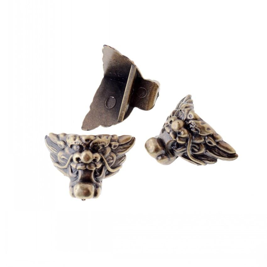 Free Shipping 12Pcs Bronze Tone Jewelry Gift Box Wood Case Decorative Acrylic Feet Leg Corner Protector 29x35mm