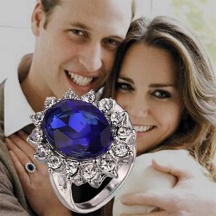 British Kate Princess Diana William Engagement Wedding Ring Blue Crystal Cubic Zirconia Fashion Jewelry For Lady Women Wholesale